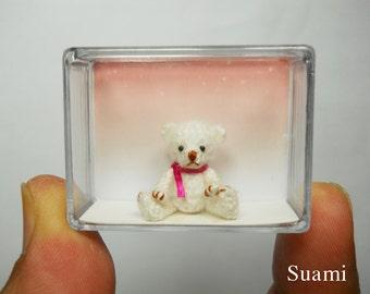 Teeny Tiny Teddy Bear 0.8 Inch - Crochet Mohair White Bear Pink  Scarf - Made To Order