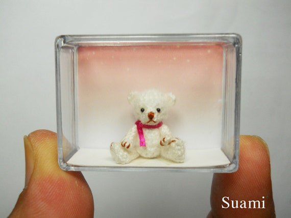 Teeny Tiny Teddy Bear 0.8 Inch - Crochet Mohair White Bear Pink  Scarf - Made To Order