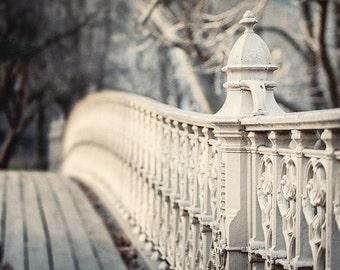 New York City Photography, NYC Wall Art, New York City, Soft Grey Decor, Central Park Bridge, Urban Decor, New York Print or Canvas Wrap.