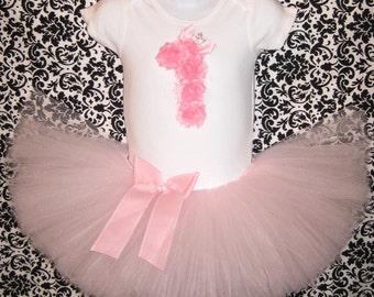 Princess Birthday Tutu Set | 1st Birthday Pink Rosette Number 1 Bodysuit with Pink Tutu and Matching Headband