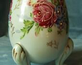 NAPCO Japan Egg Vase Blue Handpainted Moriage Roses