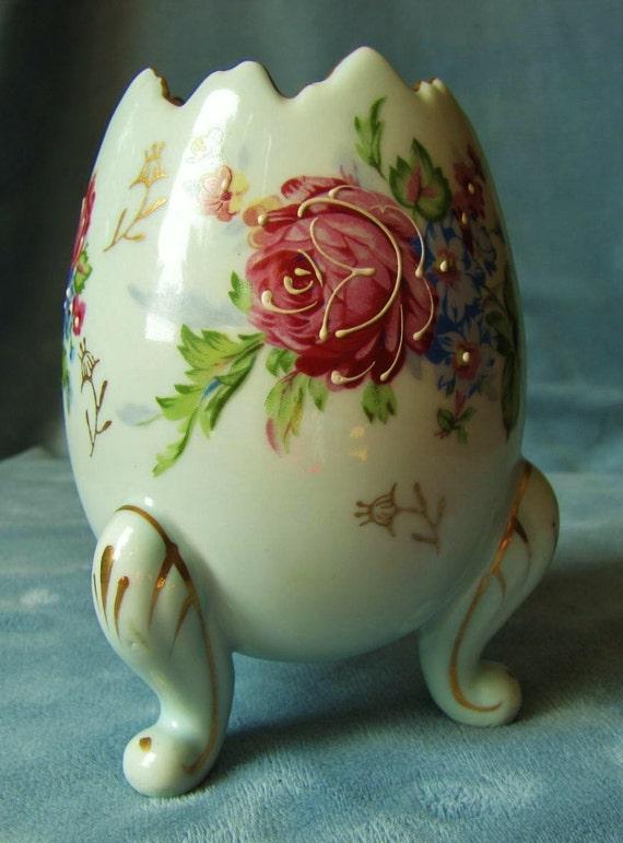 Napco Japan Egg Vase Blue Handpainted Moriage By Thisremindsme