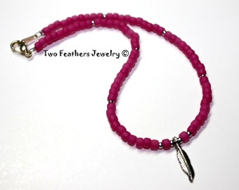 Silver Feather Anklet - Hot Pink Anklet - Pink Beads - Beaded Anklet - Summer Jewelry - Gift For Her - Ankle Bracelet - Beach Jewelry