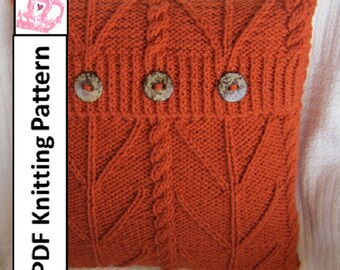 PDF KNITTING PATTERN, cable knit pillow cover pattern, knitted cushion pattern