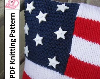 """PDF KNITTING PATTERN, American Flag knitting pattern, 12""""x16"""", pillow cover knitting pattern"""