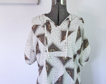 Butterfly 70s Tunic Top Vintage Hippe Blouse