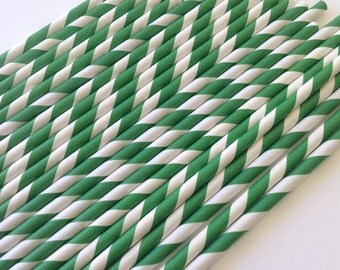 NEW to Serendipity Party Shop-Dark Green Striped Paper Straws