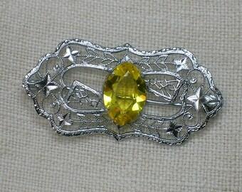 Yellow Vaseline Glass Brooch, Rare! Art Deco Filigree Pin as-is, Uranium Glass