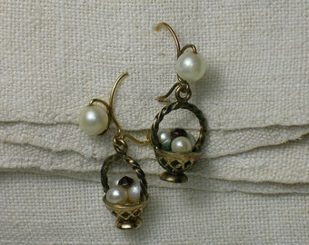Vintage Earrings: Pearl Baskets, 10K Yellow Gold. 1940s 1950s