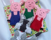 The story of The Three Little Pigs set of 4 Original Felt Finger Puppets for Imaginative Play and Learning
