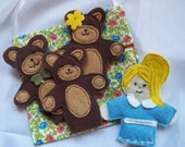 The story of Goldilocks and the Three Bears set of 4 Original Felt Finger Puppets for Imaginative Play and Learning