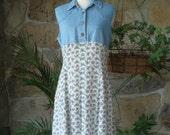 90s DENIM & FLORAL DRESS vintage minidress western M