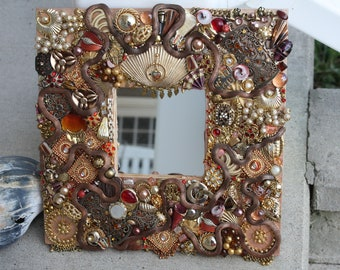 SOLD Vintage Jewelry Mosaic Mirror Copper Gold