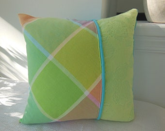 Multi Colored Pillow - Bright Pastel Pillow - Spring Pillow - Green Pillow - Blue Pillow - Reversible 15 x 15 Inch -Decorative Spring Pillow