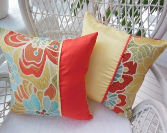 Colorful Pillow - Kaleidoscope Of Flowers Collection - Tangerine Orange / Sunny Yellow Flower Designer Pillow - Reversible 15 x 15 Inch