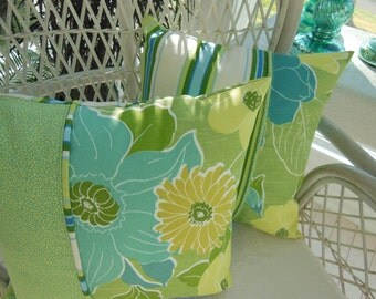Flower Pillow - Lime Green Pillow - Decorative Pillow - Tropical Flowers Design Pillow - Reversible 15 x 15 Inch - Blues, Greens and Aqua