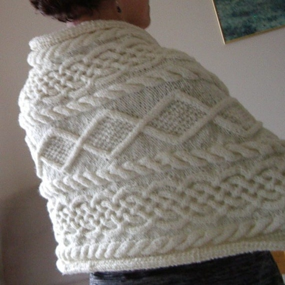 Knitting Pattern Aran Shawl : Rectangular Aran wrap in 8ply knitted by EssentiallyKnitting