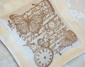 Butterflies and Clocks w/ Old World Script, Lavender Sachet on Ivory Linen (Gifts under 10 dollars) Fresh Dried Lavender