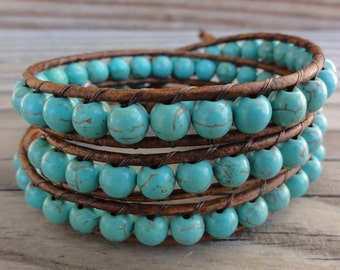 Triple Leather Wrap Bracelet - Turquoise Blue Magnesite on Distressed Brown Leather with Heart Button