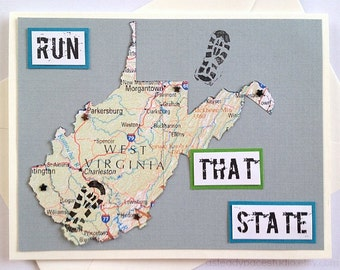 West Virginia - Run (or RAN) That State Running Greeting Card for Marathon, Half-Marathon, 10K, 5K Runners (Blank Inside)