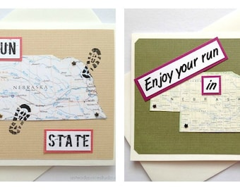 Nebraska - Run (or RAN) That State or Enjoy Your Run - Handmade Running Greeting Card for Marathon, Half-Marathon, 10K, 5K Runners