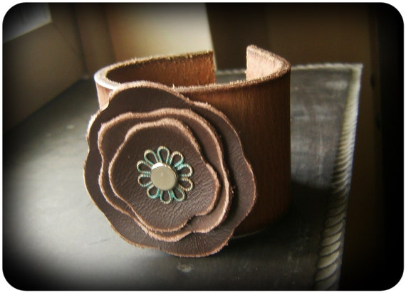 Two-toned Leather Cuff Bracelet