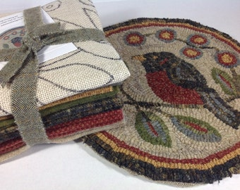 """Rug Hooking KIT for Red Robin Chair Pad or Table Mat 14"""" Round, J637, Red Robin Primitive Rug Design"""