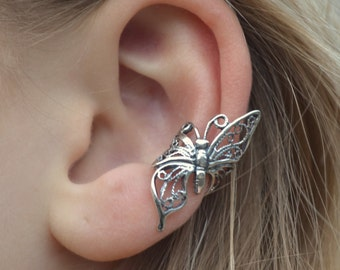 Butterfly in Flight - Ear Cuff - Sterling Silver