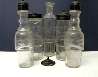 Castor CRUET Bottles Made in 1880s  5 Bottle ETCHED Glass Kitchen Decor Kitchen Tableware Top Selling Shops Best Selling Items Most Popular