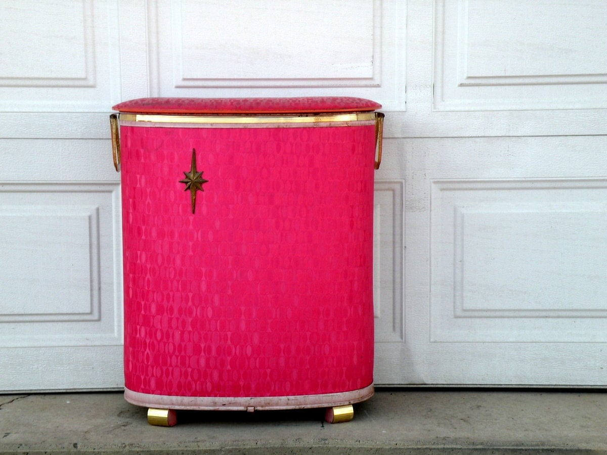 Vintage Hot Pink Wicker Clothes Hamper Mid Century Bake