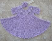 9-12 month Lavendar Crochet Baby Collared Dress with Matching Headband
