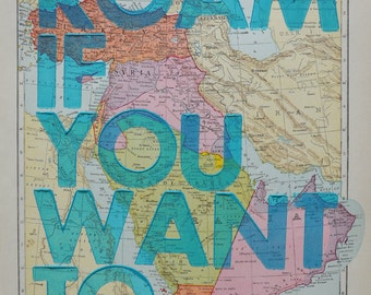 Middle East / Roam if You Want To / Letterpress Print on Antique Atlas Page