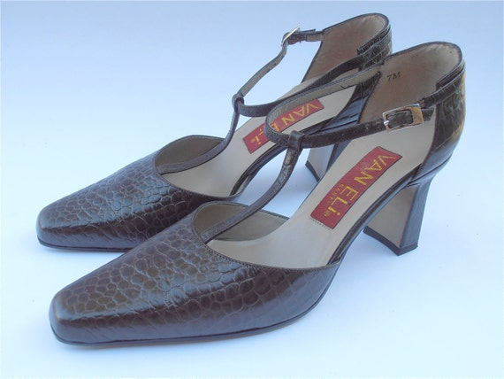 Leather Mary Jane Croc Shoes
