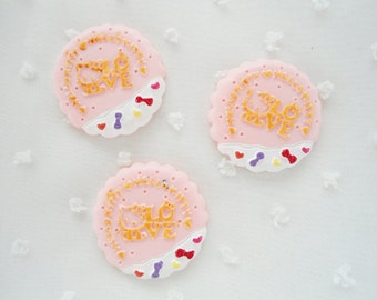 5pcs - Pink Kitschy Kitty Sugar Cookie Decoden Cabochon (32mm) HKF10010