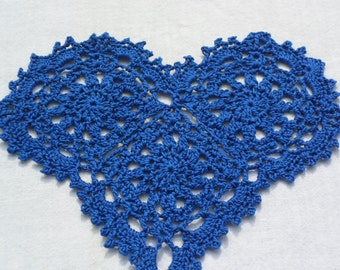 Crocheted Royal Blue Heart Doily