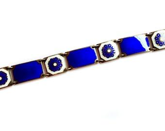 David Andersen Norway Sterling Silver Guilloche Enamel Bracelet