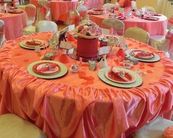 Custom Made Wedding Cake Table Tablecloth Birthday Party Pink Tablecloth