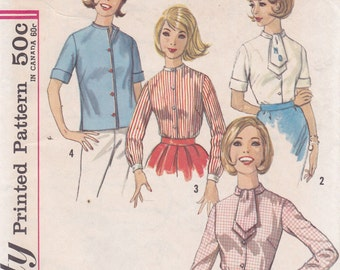 Misses Blouse Size 16 Bust 36 sewing pattern ascot collar side slit Simplicity 4882