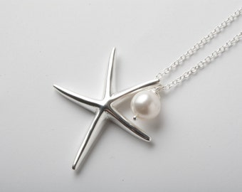 starfish necklace, bridesmaid necklace, 925 sterling silver, silver starfish necklace, Beach wedding jewelry,  nautical wedding,  gift