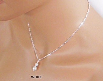 Pearl Drop Bridal Pendant. Bridal Jewelry. Bridesmaids Jewelry. Wedding Jewelry. Pearl Drop Wedding Necklace