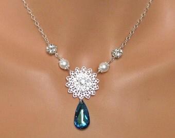 Crystal Bridal Necklace, Bermuda Blue Bridal Pendant, Bridal Jewelry, Crystal Blue Wedding Jewelry, Bridesmaids Jewelry