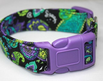 Black, Purple, Lime & Turquoise Paisley Dog Collar Size XS, S, M or L