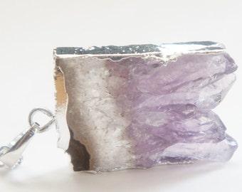 10% OFF Amethyst Druzy Slice Necklace - Bridesmaids Gifts Idea - ADN08