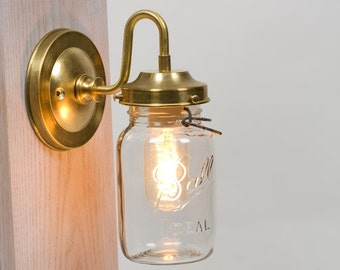 Vintage Mason Jar Brass Arm Wall Sconce
