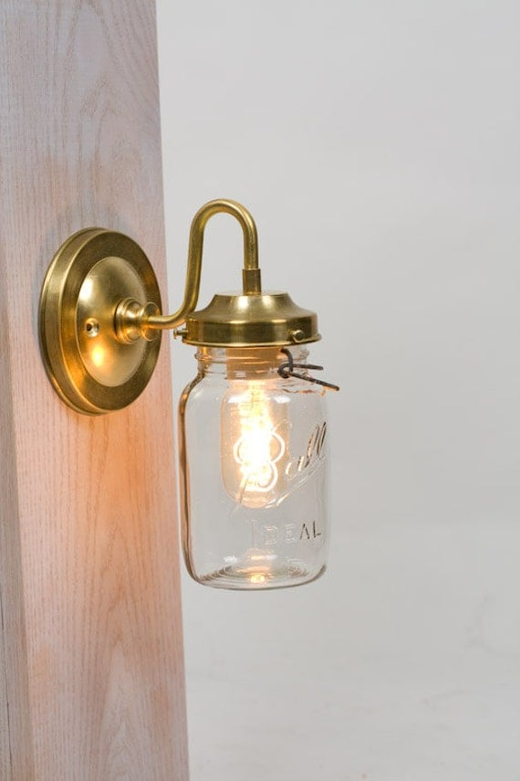Wall Sconces Etsy : Vintage Mason Jar Brass Arm Wall Sconce