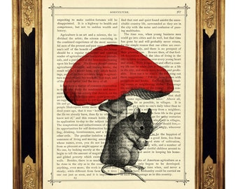 Mouse under red Mushroom Woodland Forest - Vintage Victorian Book Page Art Print Steampunk