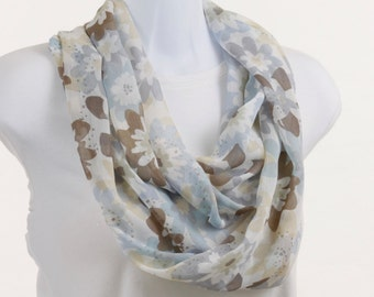 Light Floral Infinity scarf White Blue Gray Tan Long Scarf ~ SH015-L5