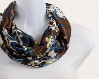 Silky Infinity Scarf - Earth Tones Cream, Blue and Green ~ SK007-S5