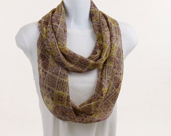 Long Infinity Scarf -  Soft Lime Green and Lavender - Subtle Sparkle for added Elegance ~ SH121-L1