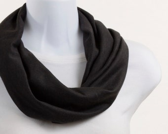 Short Infinity Scarf  - Dark Charcoal Gray Knit ~ K044-S1